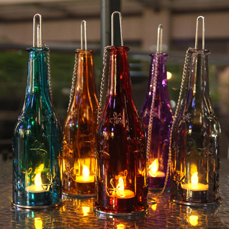 wine bottle tea light candle holder glass hanging hurricane lantern